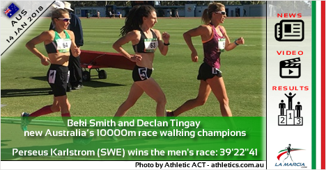 Beki Smith e Declan Tingay nuovi campioni australiani sui 10000m di marcia