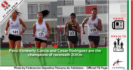Perù: Kimberly Garcia e Cesar Rodriguez campioni dei 20Km di marcia