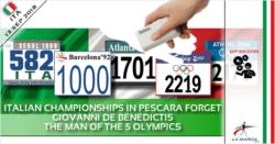 I Campionati Italiani di Pescara dimenticano Giovanni de Benedictis, l'uomo delle 5 Olimpiadi