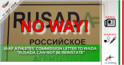 "IAAF athletes' commission letter to WADA: ""RUSADA can not be reinstate"""
